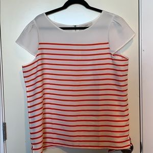 LOFT - White and red striped casual blouse